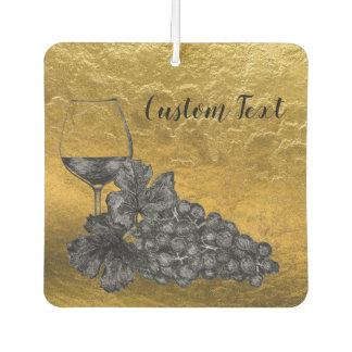 Ink Wine Glass Grapes Gold Background Car Air Freshener