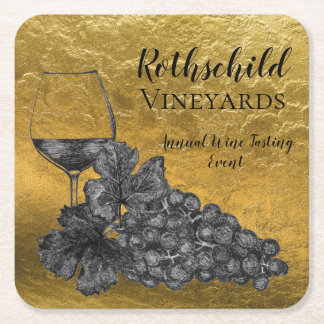 Ink Wine Glass Grapes Gold Background Square Paper Coaster