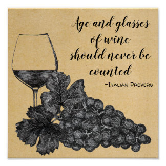 Ink Wine Glass Grapes Old Paper Background Poster