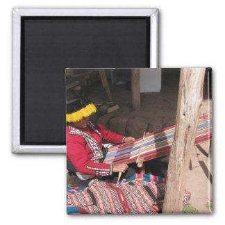 Ïnka Woman at Backstrap Loom Magnet