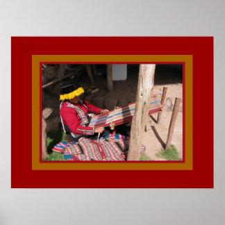 Ïnka Woman at Backstrap Loom Poster