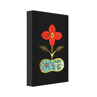 Inked Flower of Hope Wrapped Canvas. Canvas Print
