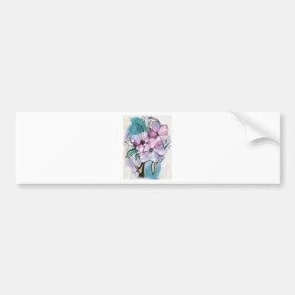 Inked Flowers Bumper Sticker