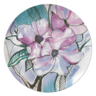Inked Flowers Plate