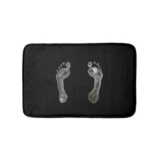 Inked Footprints (Black) Bath Mat
