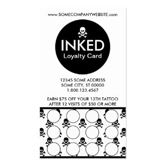 INKED skulls stamp card Business Card Template
