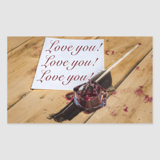 Inkstand, quill and paper customizable rectangular sticker