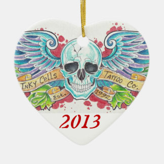 Inky Cells Winged skull ornament