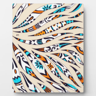 Inky Funky Pattern Art Beige Plaque