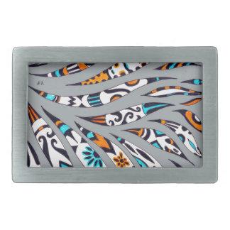 Inky Funky Pattern Art Grey Belt Buckles