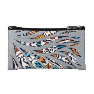 Inky Funky Pattern Art Grey Makeup Bag