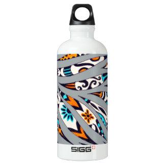 Inky Funky Pattern Art Grey Water Bottle
