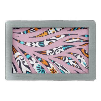 Inky Funky Pattern Art Pink Belt Buckle