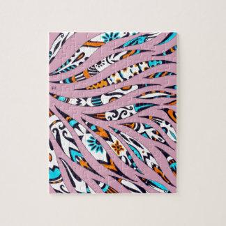 Inky Funky Pattern Art Pink Jigsaw Puzzle