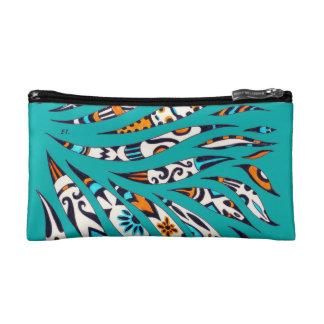 Inky Funky Pattern Art Teal Cosmetic Bag