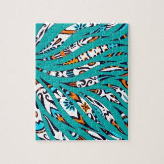 Inky Funky Pattern Art Teal Jigsaw Puzzle