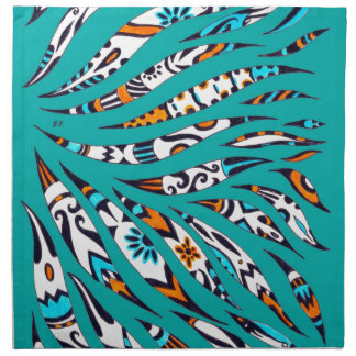 Inky Funky Pattern Art Teal Napkin