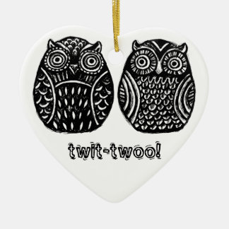 inky owls heart ornament