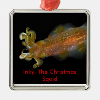 Inky, The Christmas Squid Silver-Colored Square Decoration