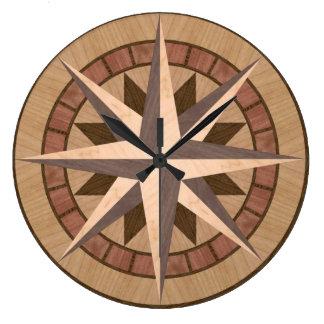 Inlaid wood mariners compass design large clock