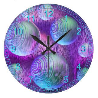 Inner Flow II - Abstract Indigo & Lavender Galaxy Wall Clocks