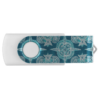 INNER MERMAID COMPASS Aqua Beach Shell Mandala USB Flash Drive