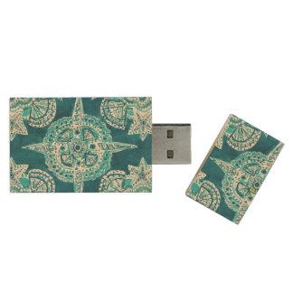 INNER MERMAID COMPASS Aqua Beach Shell Mandala Wood USB Flash Drive