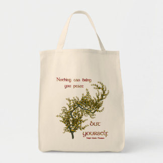 Inner Peace Inspirational Quote Grocery Tote Bag