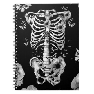 Inner peace, rib cage with poppies notebook