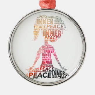 Inner Peace-stay positive Silver-Colored Round Decoration