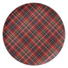 Innes Clan Colourful Red Scottish Tartan Plate