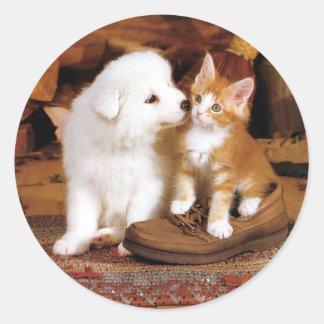 Innocence,  Puppy and Kitten Classic Round Sticker
