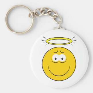 Innocent Angel  Smiley Face Basic Round Button Key Ring