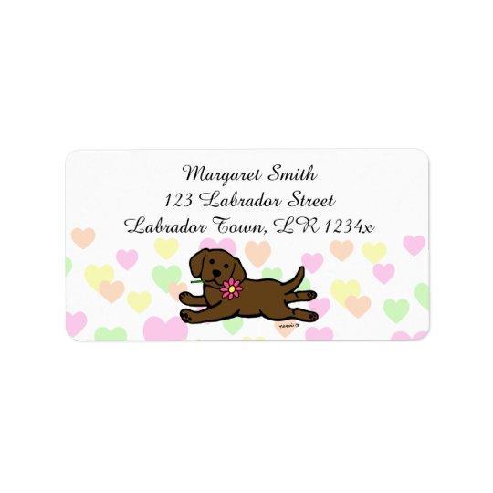 Innocent Chocolate Labrador Puppy Cartoon Address Label