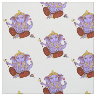Innocent Lord Ganesh with his mouse. Fabric
