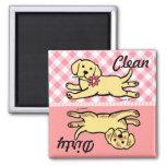 Innocent Yellow Labrador Puppy Cartoon Square Magnet