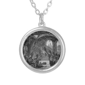 Input of an old high school by Giovanni Battista Round Pendant Necklace