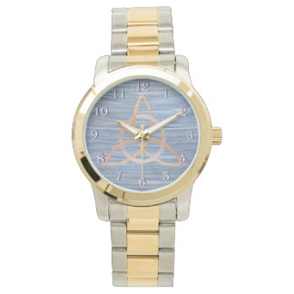 Inquisitive Bling | Gold Blue Trinity Triquetra Wristwatch