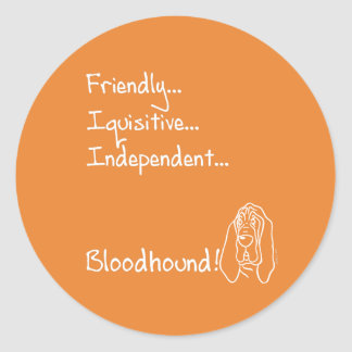 Inquisitive Bloodhound Classic Round Sticker