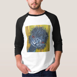 Inquisitive Emu 3/4 sleeve 2 colour T-shirt