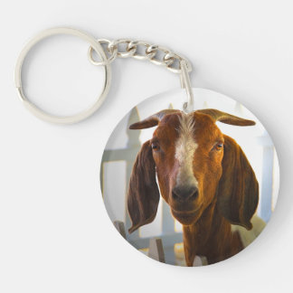 Inquisitive Goat Asks Questions Double-Sided Round Acrylic Key Ring