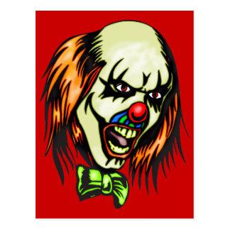 Insane Evil Clown Postcard