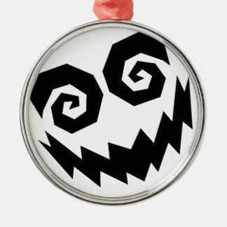 Insane In The Face White+Black Silver-Colored Round Decoration