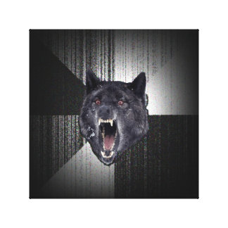 Insanity Wolf Meme Funny Memes Black Wolf Stretched Canvas Prints