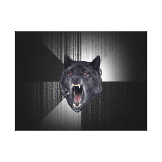 Insanity Wolf Meme Funny Memes Black Wolf Stretched Canvas Print
