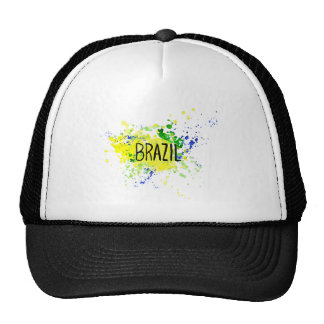 Inscription Brazil on background watercolor stains Cap
