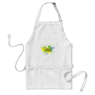 Inscription Brazil on background watercolor stains Standard Apron