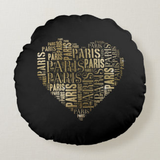 Inscriptions Paris in Heart on Black Background Round Cushion