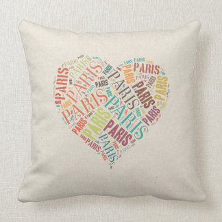 Inscriptions Paris in Heart on Canvas Background Cushions