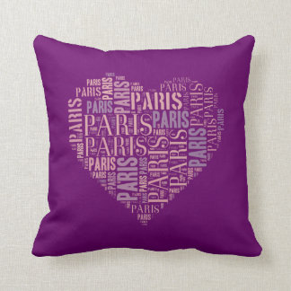 Inscriptions Paris in Heart on Purple Background Pillow